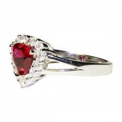 Ruby Halo Heart Promise Ring on Side