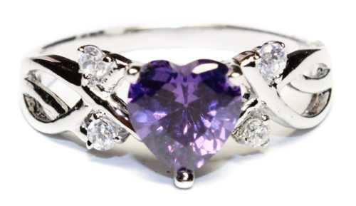 Amethyst (Purple) Heart Shaped Ring Front 1