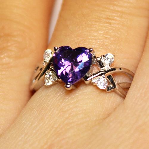 Amethyst (Purple) Heart Shaped Ring on Hand 2