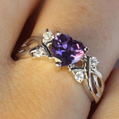 Amethyst (Purple) Heart Shaped Ring on Hand