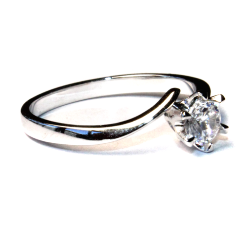 Curved Diamond Promise Ring Solitaire Side