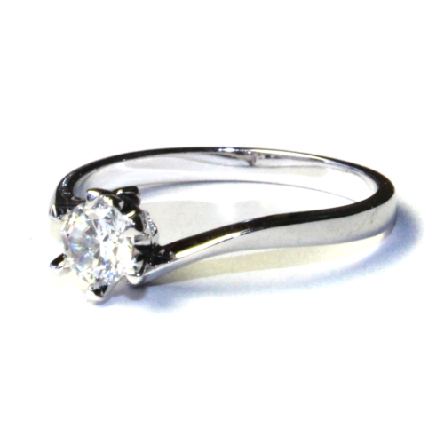 Curved Diamond Promise Ring Solitaire Side2