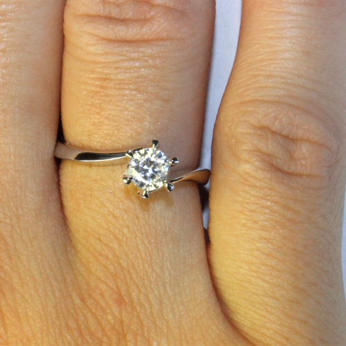 Curved Diamond Promise Ring Solitaire on Hand 2