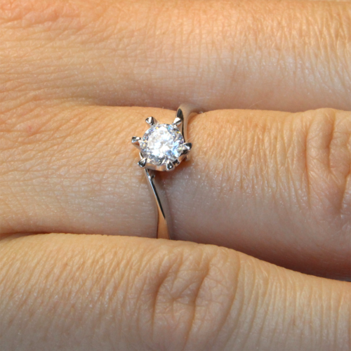 Curved Diamond Promise Ring Solitaire on Hand
