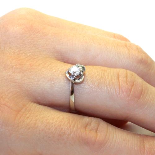 Diamond Heart Promise Ring on Hand2
