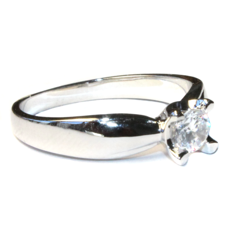 Diamond Promise Ring - Silver Solitaire Side