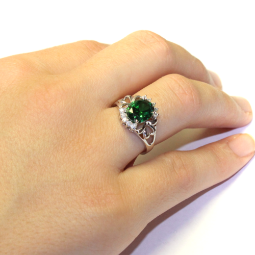 Emerald Green Promise Ring on Hand2