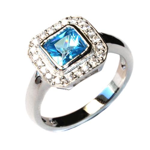 Princess Cut Aquamarine Promise Ring