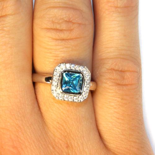 Princess Cut Aquamarine Promise Ring on Hand