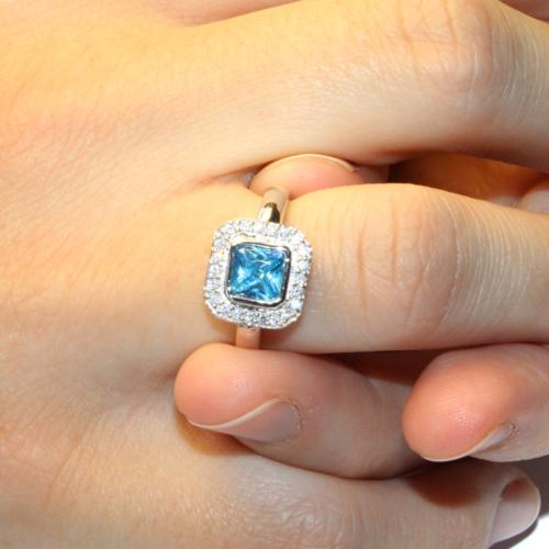 Princess Cut Aquamarine Promise Ring on Hand2