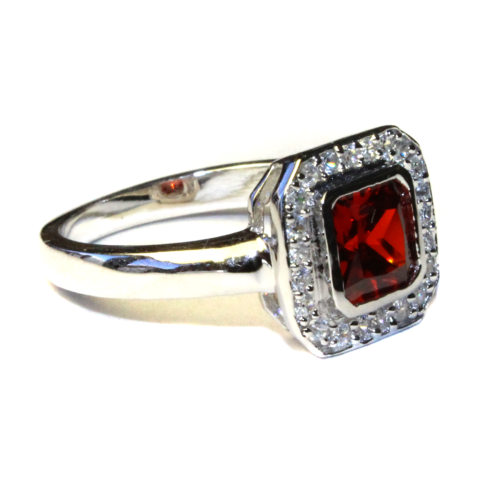 Princess Cut Ruby Red Promise Ring Side