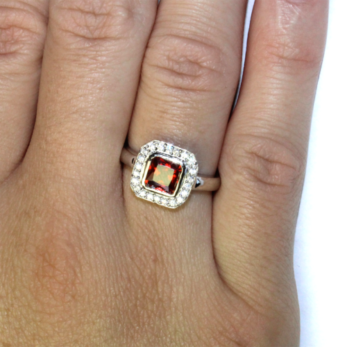 Princess Cut Ruby Red Promise Ring on Hand