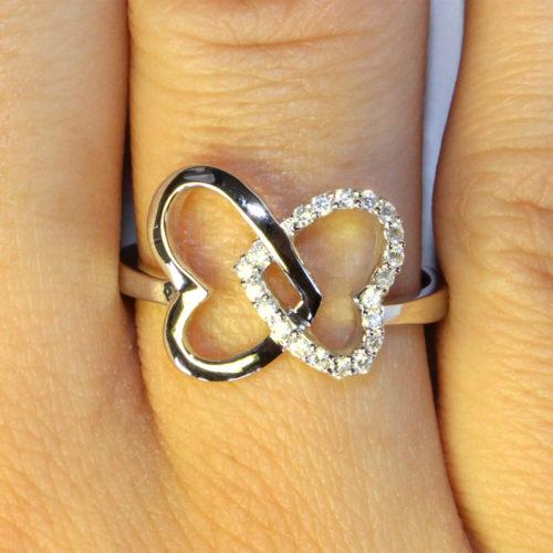 2 Interlocked Hearts Promise Ring on Hand 1