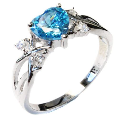 Aquamarine Heart Shaped Ring – Aqua Cubic Zirconia