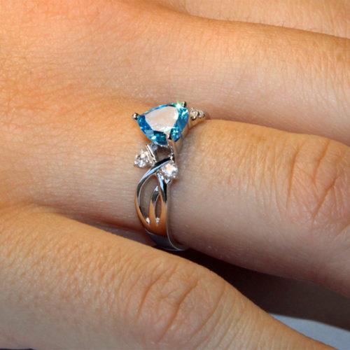 Aquamarine Heart Shaped Ring – Aqua Cubic Zirconia on hand2