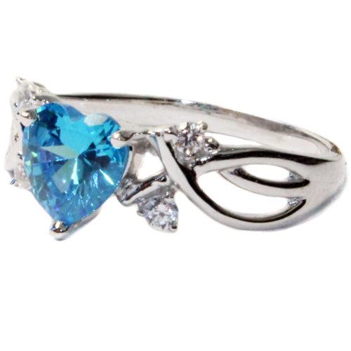 Aquamarine Heart Shaped Ring – Aqua Cubic Zirconia on side