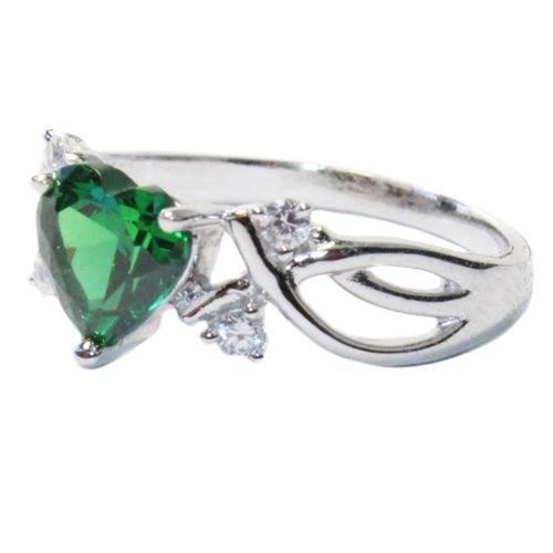 Emerald Heart Shaped Ring - Green Cubic Zirconia Side