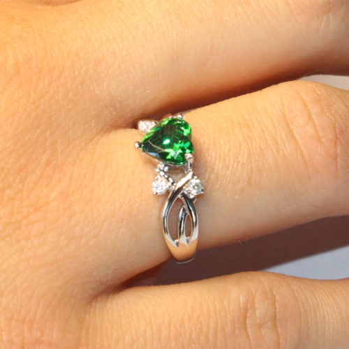 Emerald Heart Shaped Ring - Green Cubic Zirconia on Hand