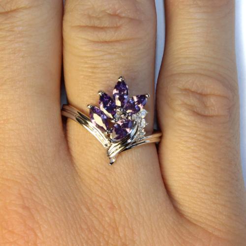Purple Flower Ring on Hand 1