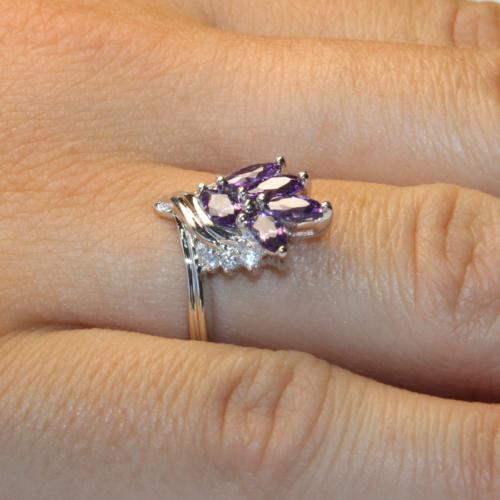 Purple Flower Ring on Hand 2