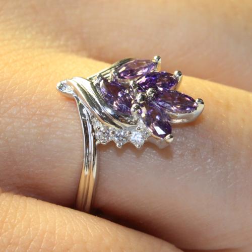 Purple Flower Ring on Hand