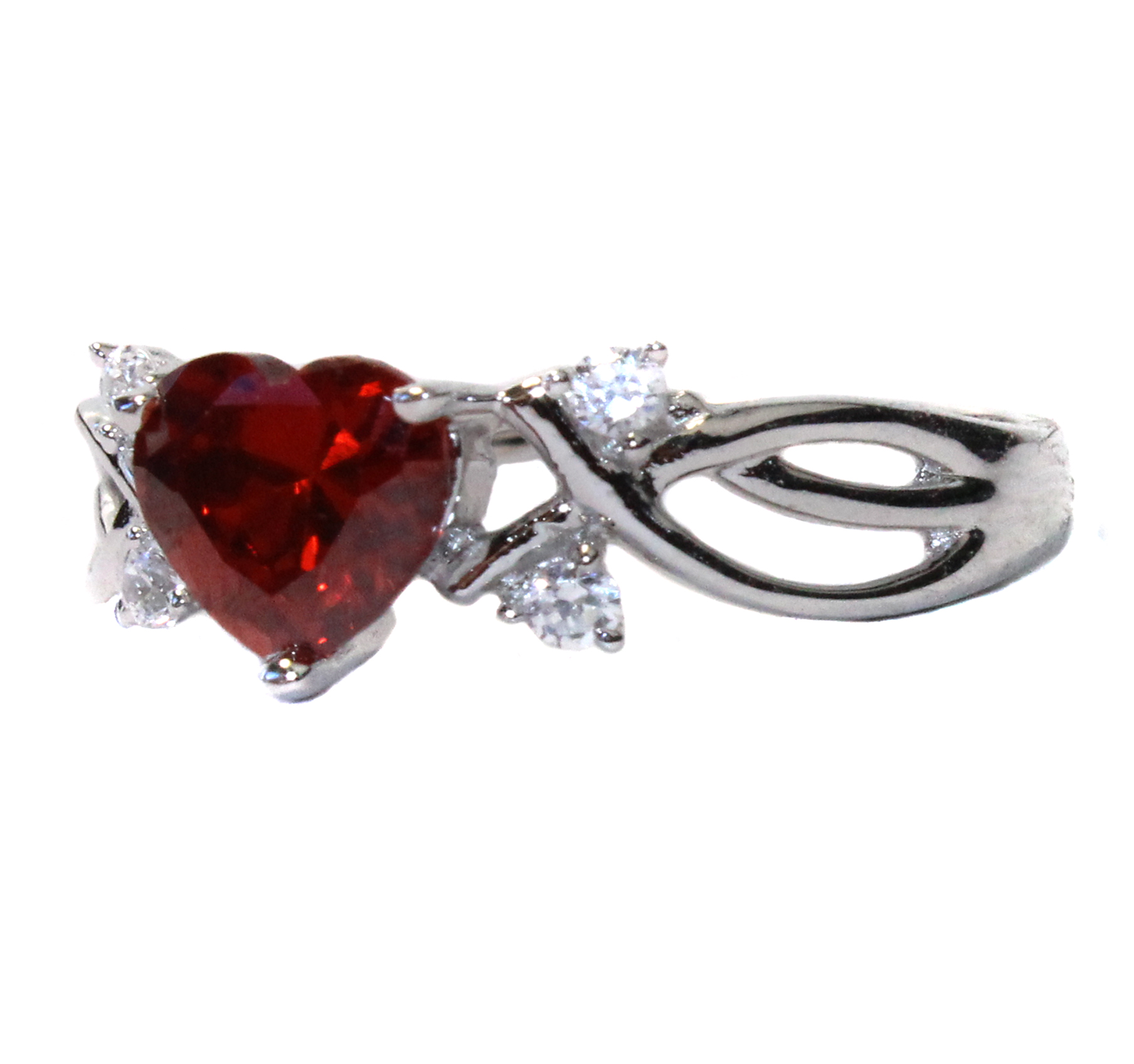 Ruby Heart Shaped Ring Red Cubic Zirconia Beautiful
