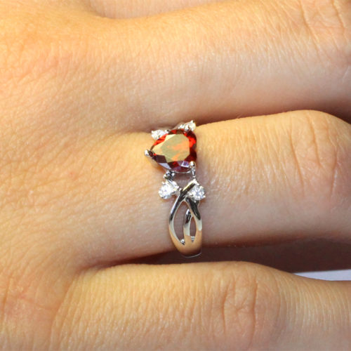 Ruby Heart Promise Ring on Hand2