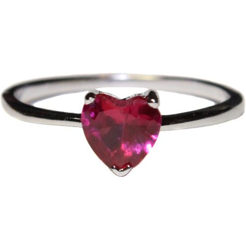 Ruby Heart Promise Ring - Cubic Zirconia Red Front
