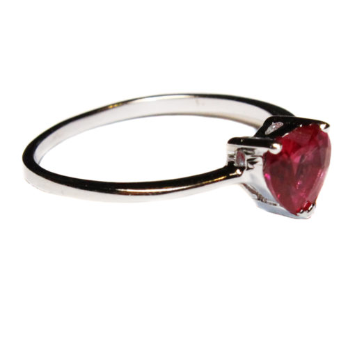 Ruby Heart Promise Ring - Cubic Zirconia Red Side