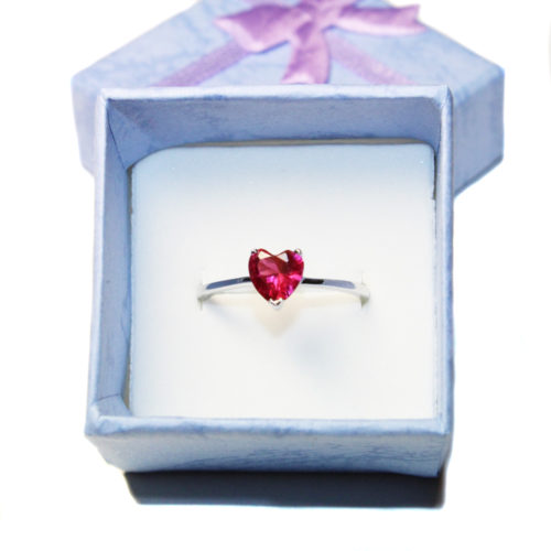 Ruby Heart Promise Ring - Cubic Zirconia Red in Box