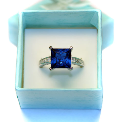Sapphire Princess Cut Promise Ring in box