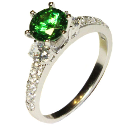 Emerald Promise Ring Solitaire Green Cubic Zirconia