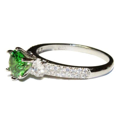Emerald Promise Ring Solitaire Green Cubic Zirconia Side