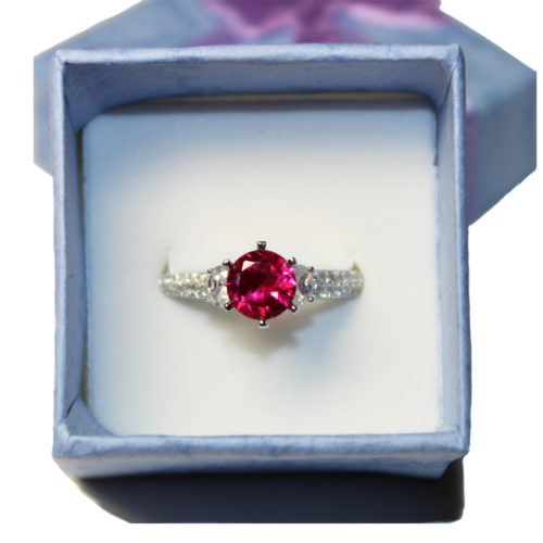 Ruby Promise Ring Solitaire Red Cubic Zirconia in Box