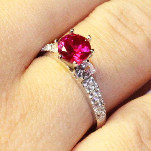 Ruby Promise Ring Solitaire Red Cubic Zirconia on Hand 2