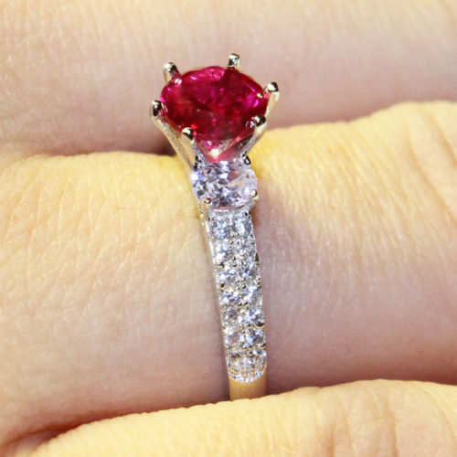 Ruby Promise Ring Solitaire Red Cubic Zirconia on Hand 3