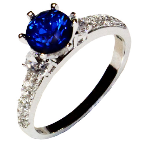 Sapphire Promise Ring Solitaire Blue Cubic Zirconia