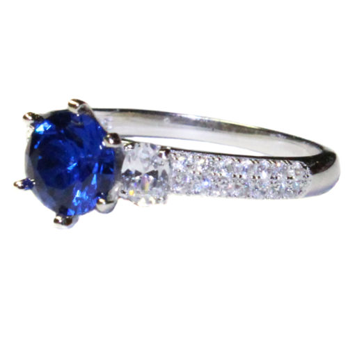 Sapphire Promise Ring Solitaire Blue Cubic Zirconia Side