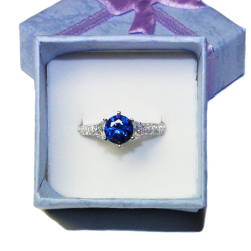 Sapphire Promise Ring Solitaire Blue Cubic Zirconia in Box