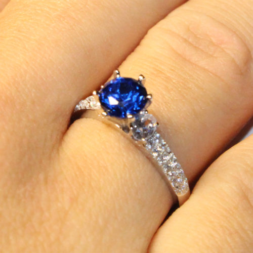 Sapphire Promise Ring Solitaire Blue Cubic Zirconia on Hand2