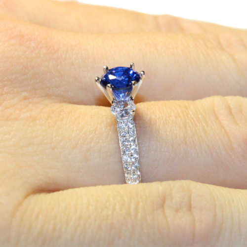 Sapphire Promise Ring Solitaire Blue Cubic Zirconia on Hand3