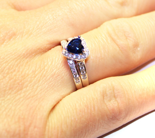 Sapphire Heart Promise Ring on Hand