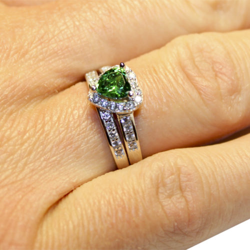 Emerald Heart Promise Ring on Hand 2